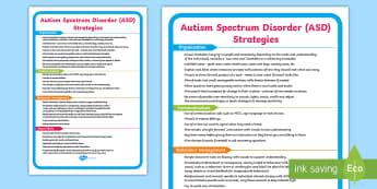 ASD Support Strategies Display Poster - autism spectrum disorder, SEN, behaviour, ideas,