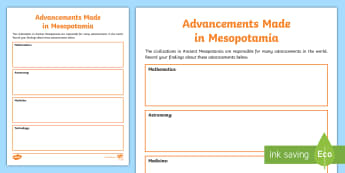 Advancements Made in Mesopotamia Activity - mathematics, astronomy, medicine, technology, history