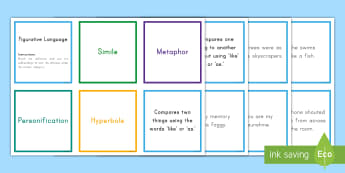 Figurative Language Sorting Cards - figurative, sorting, activity, similes, hyperbole, personification, metaphor, CCSS.ELA-LITERACY.L.5.