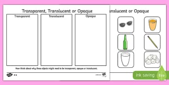 Transparent Translucent or Opaque Sorting Activity