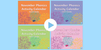 November Phonics Activity Calendar PowerPoint Pack - Reading, Spelling, Game, Starter, Sounds
