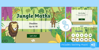 Jungle Maths Game - Doubles Up To 10, maths games, Twinkl Go, twinkl go, TwinklGo, twinklgo