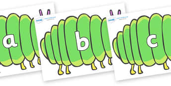 Phase 2 Phonemes on Fat Caterpillars to Support Teaching on The Very Hungry Caterpillar - Phonemes, phoneme, Phase 2, Phase two, Foundation, Literacy, Letters and Sounds, DfES, display