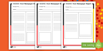 NAIDOC Week Differentiated Newspaper Article Writing Template - recount, report, news, fact, text type,,Australia