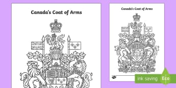 * NEW * Canada's Coat of Arms Colouring Page