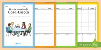 Livro de comunicação - escola, casa, comunicacao, primaria, mensagens, notas, escrita, caderno, livro