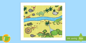 Tapiz de Bee-Bot: Dinosaurios - robot, blue-bot, bee, bot, instrucciones, dinosaurio, dinosaurios, historia, ,Spanish
