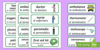 * NEW * Hospital Word Cards - English / Spanish - Hospital Word Cards - Hospital Role Play, hospital resources, people who help us, nurser, doctor, ho