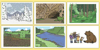 We're Going On A Bear Hunt Story Cut Outs - Bear Hunt, Michael Rosen, resources, swishy swashy, Bear Hunt, Bear Hunt Story, splash splosh, thick oozy, deep dark cave, family, journey, story, story book, story book resources, story se