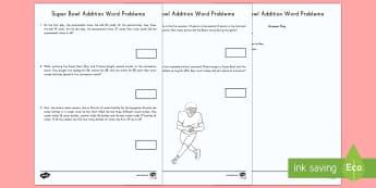 Super Bowl Addition Word Problems Worksheet / Activity Sheet - Super Bowl 2017, Football, American Football, Word Problems, Math, Addition, KS1, 1st grade, 2nd gra