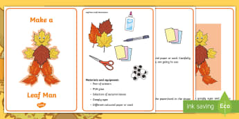 Leaf Man Craft Instructions - autumn, body, collage, nature, creative