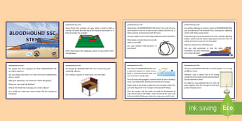 UKS2 BLOODHOUND SSC STEM Challenge Cards  - Bloodhound, SSC, Supersonic, STEM, Challenge, Problem Solving, Problems, Science, Engineering, Techn