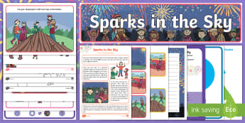 Childminder Sparks in the Sky EYFS Resource Pack - bonfire night, twinkl originals, fiction, twinkl stories, hotdog, fireworks, fireworks, colouring, a