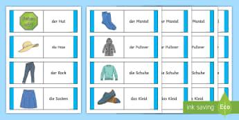 Clothing Card Game German - German Games, German activities, German clothes, German cards, German clothing, German uniform.,Scot