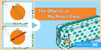 PowerPoint avec audio : Dans ma trousse il y a - Anglais LV - Matériel scolaire, crayon à papier, stylo, puis-je, vocabulaire anglais, cycle 2, cycle 3,French