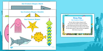 Sea Creature Shapes Busy Bag Prompt Card and Resource Pack