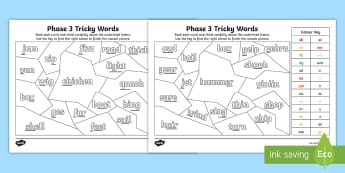 Colour Code Phase 3 Mosaics Activity Sheets - Colour Code Phase 3 sounds - colour, phase 3, practise,  read, write, phas 3, , pase 3, phase 3 soun