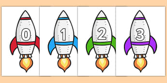 Calendar Numbers 0-31 on Rockets (Portrait) - Calendar, Foundation Numeracy, Numbers, 0-31, A4, display, birthday, rocket, rockets, space, ship, alien, launch, moon, stars, planet, planets