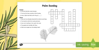 KS2 Palm Sunday Crossword - puzzle, criss cross, mystery word, clues, independent activity, easter
