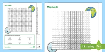 Map Skills Wordsearch Activity Sheet - Map Skills, Maps, Wordsearch, Key words, Puzzle