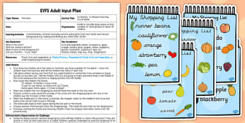 Market Role-Play Circle Game EYFS Adult Input Plan Resource Pack