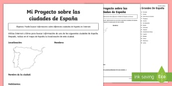 Cities of Spain Research Project Worksheet / Activity Sheet - Internet, IT, skills, research, Spain, Madrid, Barcelona, Zaragoza, project, worksheet, activity