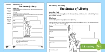 The Statue of Liberty Activity Sheet - Amazing Fact Of The Day, activity sheets, powerpoint, starter, morning activity, December, Statue of - Amazing Fact Of The Day, activity sheets, powerpoint, starter, morning activity, December, Statue of