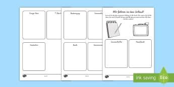 Summer Vocabulary Activity Sheet German - Summer, Holiday, Travel, Urlaub, German, MFL, Languages, Sommer