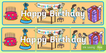 Birthday Display Banner - birthday, display, banner, role-play, bulletin board, celebrations