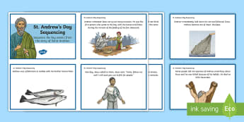 St Andrew's Day Sequencing Cards - Scotland, Patron Saints, November, Disciples, Scottish events,Scottish
