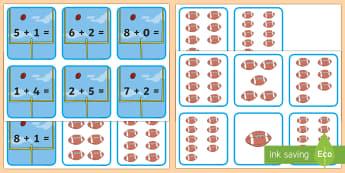 Super Bowl Addition Sorting Cards - Super Bowl, Addition, Sort, american football, adding, sports, sport, football, superbowl, matching