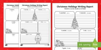Christmas Holiday Report Writing Frame English/Portuguese - Christmas Holiday Report Writing Frame - christmas, christmas holiday, writing report, writing, repo