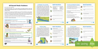 60-Second Reads: Places Activity Cards - 90 Words A Minute, Ninety Words, Reading, Guidance, Year 2, Y2, One Minute Reading