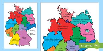 German Federal States Poster English/German - Germany, Bundesländer, Deutschland, map, counties, EAL, German, English-German,,German-translation