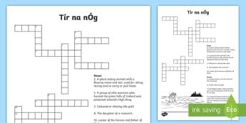 Tír na nÓg Crossword - Tír na nÓg, Na Fianna, Oisín, Fionn, Land of Eternal Youth, Ireland.,Irish