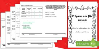 Livret de problèmes mathématiques : Organiser une fête de Noël - saison, boissons, situation réelle, nourriture, fractions, pourcentage, TVA,French