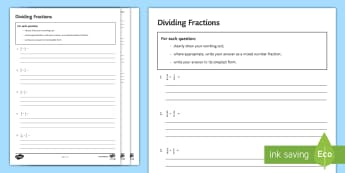 Dividing Fractions Activity Sheet - Mixed Simplify Simplest  Numerator Denominator Division Divide Keep Change Flip, Kcf, Kfc, Multiply,