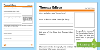 Deaf Role Models Thomas Edison Research Activity  - Deaf, Identity, culture, community, British Sign Language, BSL, hearing impaired, ICT, worksheet
