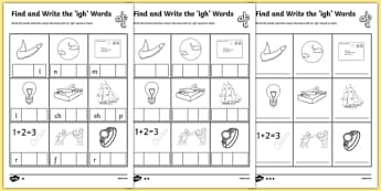 Find and Write the igh Words Differentiated Activity Sheet Pack, worksheet