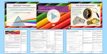 States of Matter Lesson 10: Chromatography Lesson Pack - chromatography, separation techniques, mixtures, chromatogram, separating inks