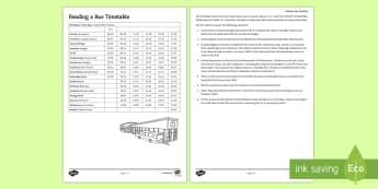Reading a Bus Timetable Activity Sheet - Timetable, Time, Solving Problems, bus,
