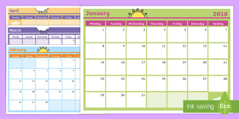 2018 Monthly Calendar Southern Hemisphere Planning Template - -Australia - Monthly Calendar Planning Template 2018 - monthly, calendar, planning, template, 2017,calandar,calen