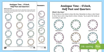 Analogue Time O'Clock, Half Past and Quarters Worksheet / Activity Sheet - NI KS1 Numeracy, o'clock, time, half past, quarter, home learning, analogue time, worksheet