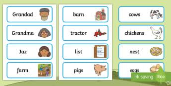 Grandad's Farm Word Cards - aistear, exploring my world, grandad's, farm, literacy, early writing, spelling, reading, ,Irish