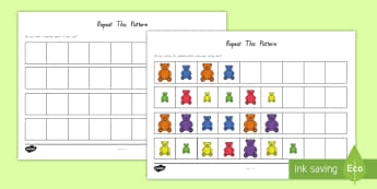 Sorting Bear Repeating Patterns Worksheet / Activity Sheet  - New Zealand Back to School, compare bear, size, colour, repeating pattern, counting, size recognitio