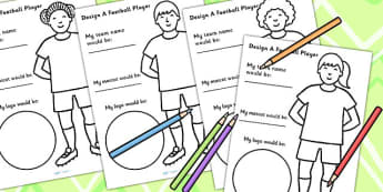 Design A Football Player Worksheet - world cup, sport, PE, sports