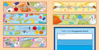 Maths Classroom General Display Pack - titles, key words, problem of the week, mathematician, Homework, key words