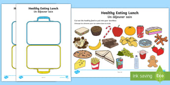 Healthy Eating Lunch Activity Sheet English/French - Healthy Eating Lunch Activity - healthy, healthy eating, sort, activity, fruit, game, how to eat hea