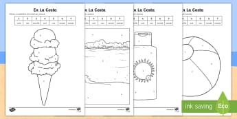 Seaside Topic Colour by Number - Spanish - numbers, colouring, activity, sheet, worksheet, identify, colours, coast, beach, summer, vocabulary,