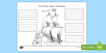 Five Facts about Christopher Columbus Activity Sheet - Christopher Columbus, Americas, Explorers, Columbus Day, Columbus